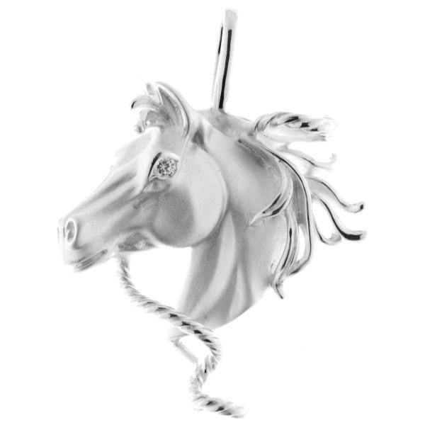 Anhänger Pferdekopf wild und ausdrucksvoll echt Silber mit Zirkoniaauge
