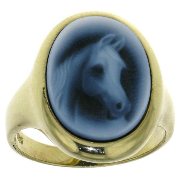 Ring Gemme Achat Pferdekopf Vollbluttyp 16 x 12 mm Kamee