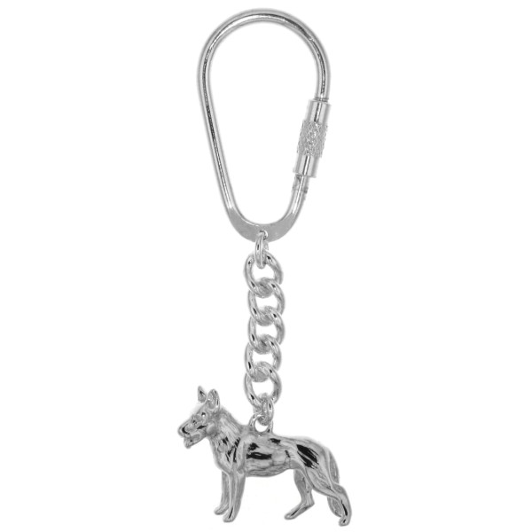 Schlüsselanhänger Schäferhund schwer massiv echt Silber