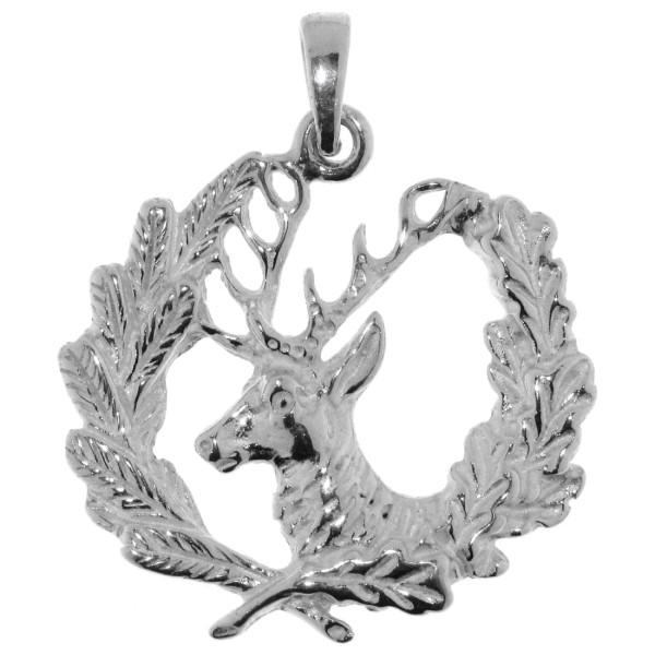 Anhänger Jagdsymbol Hirsch mit Eichenlaub und Tannenzweig massiv echt Silber