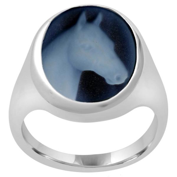 Ring Gemme Achat 16 x 12 mm mit Pferdekopf Kamee