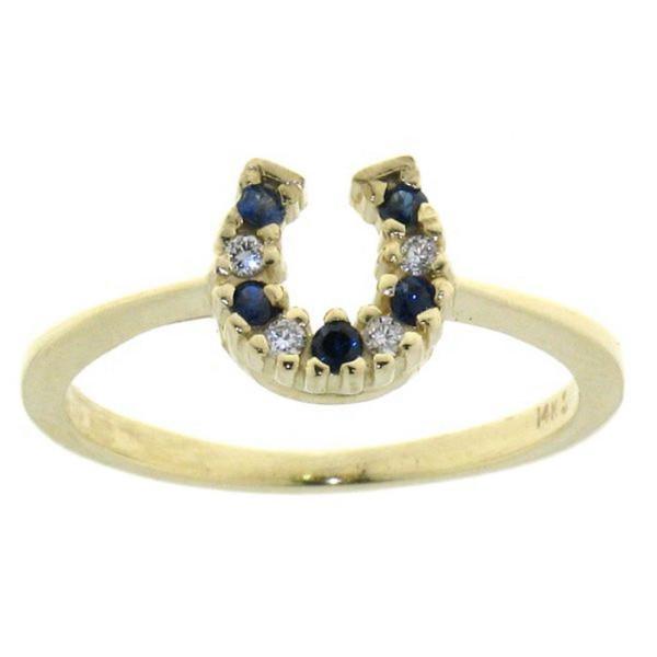 Ring mit kleinem Diamant/Saphir Hufeisen