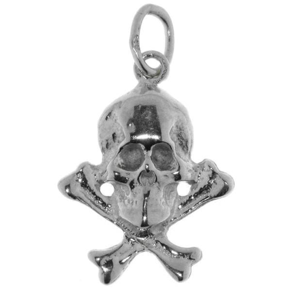 Anhänger Totenkopf mit Knochen echt Silber