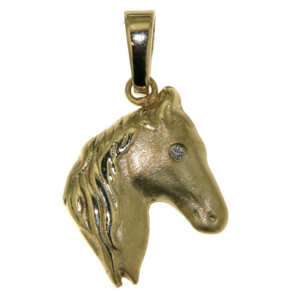 Anhänger Pferdekopf klassisch mit Diamant Auge Gelbgold mattiert - poliert