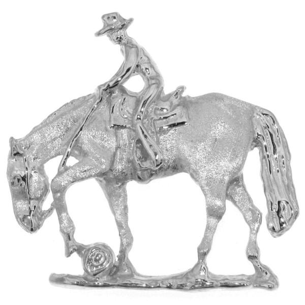Anhänger Reiter auf Pferd beim Trail groß echt Silber mattiert - poliert