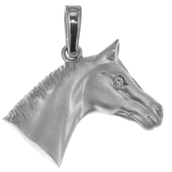 Anhänger Pferdekopf schwer massiv echt Silber mattiert mit Zirkonia Auge