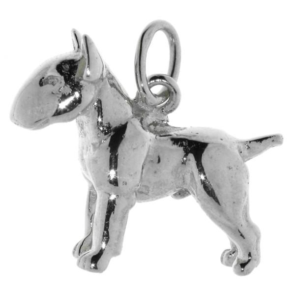 Anhänger Bullterrier Pit-Bull Hunderasse schwer massiv echt Silber