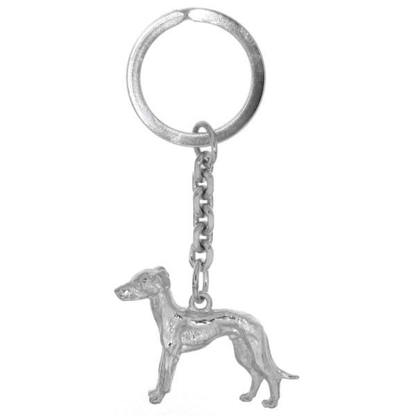 Schlüsselanhänger Windhund Hunderasse Barsoi schwer massiv echt Silber