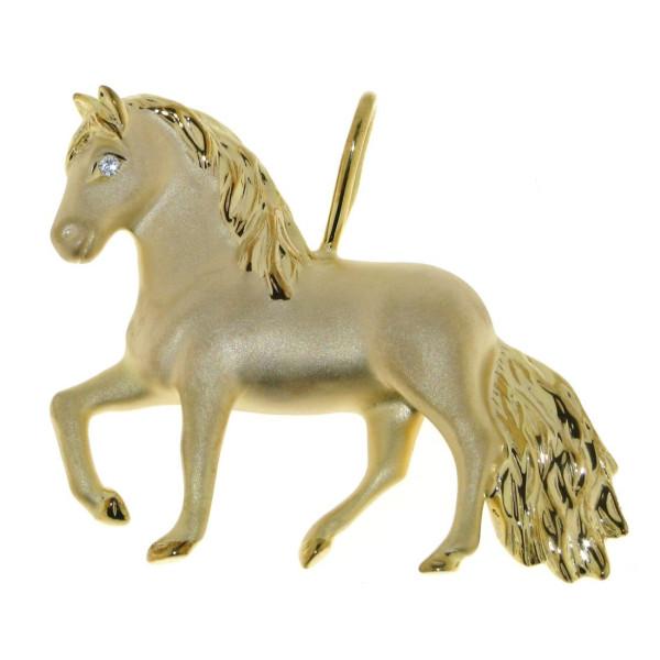 Anhänger Pferd groß mattiert - poliert mit Diamantauge