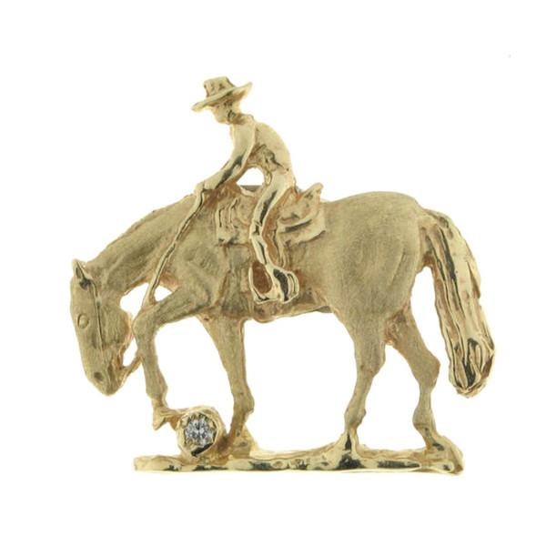 Anhänger Reiter auf Pferd beim Trail groß - Trailreiter - mattiert-poliert - mit Diamant