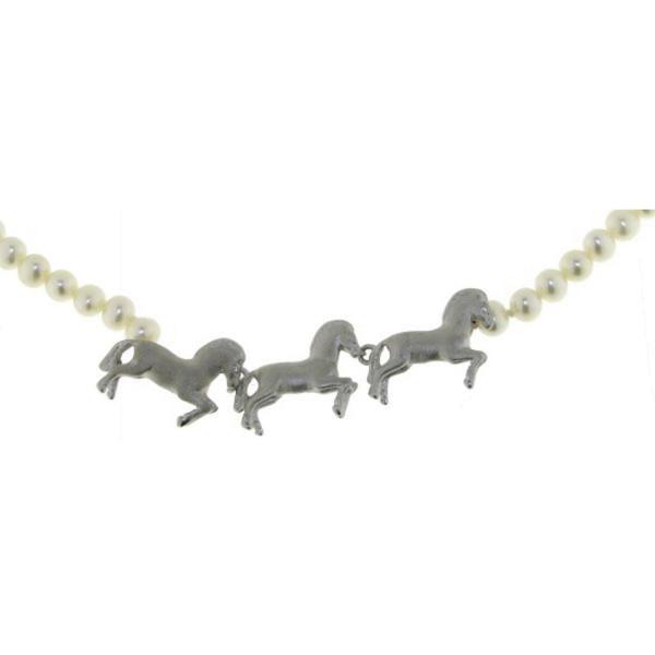 Perl-Collier weiße echte Perlen mit 3 Pferden echt Silber und Zirkoniaaugen