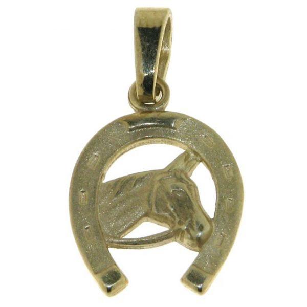 Anhänger Pferdekopf im Hufeisen echt Silber goldplattiert mattiert - poliert