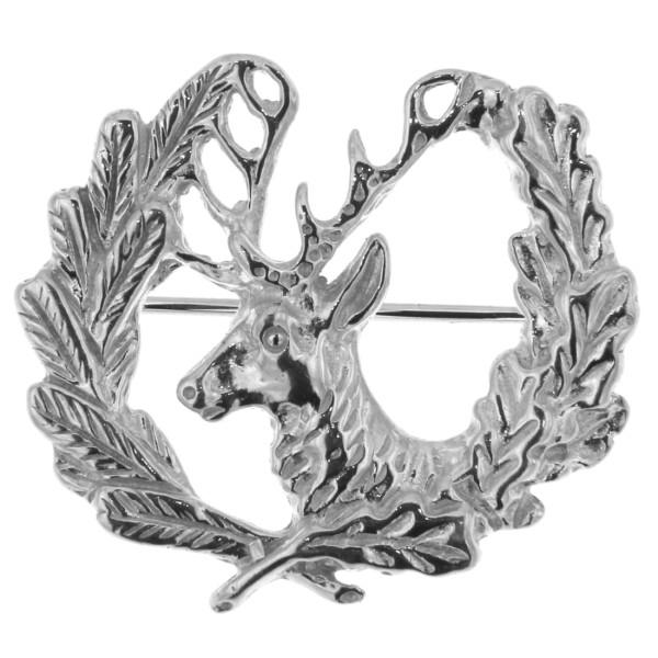 Brosche Plastronnadel Jagdsymbol mit Hirsch massiv echt Silber