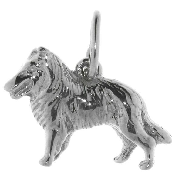 Anhänger Collie Hunderasse massiv echt Silber