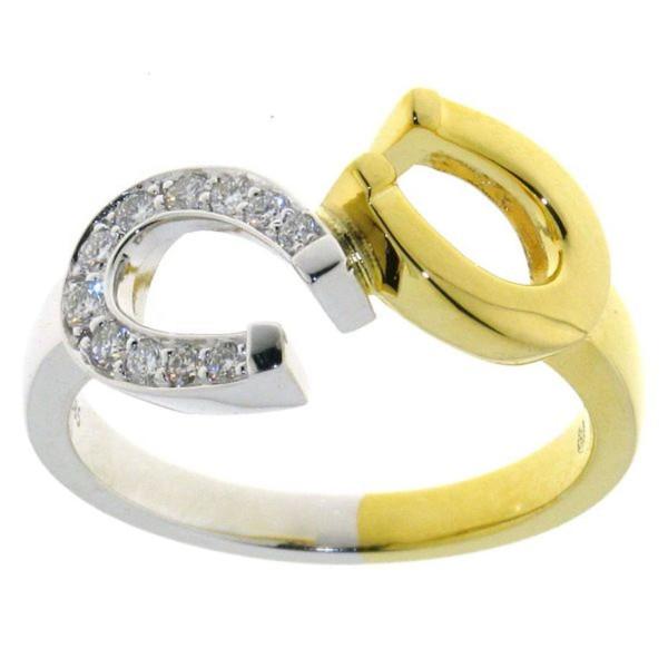 Ring Doppelhufeisen bicolor mit 11 Brillanten