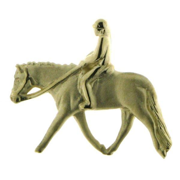 Anhänger Pferd mit Reiter kleiner mattiert - poliert english pleasure