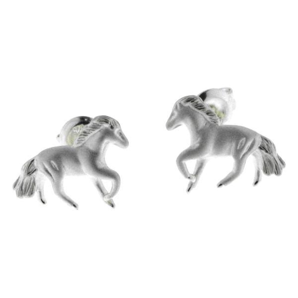Ohrstecker Pferdchen massiv echt Silber mattiert-poliert modern