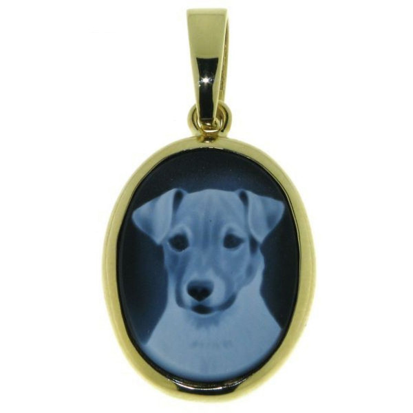 Anhänger Gemme Achat Jack-Russel Terrier 20 x 15 mm Kamee