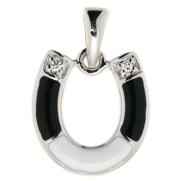 Anhänger Hufeisen echt Silber mit 2 Zirkoniasteinen und schwarzem Lack