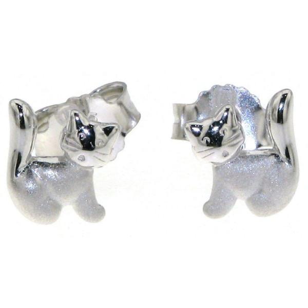 Ohrstecker Ohrring Katze Kätzchen Kater mattiert-poliert massiv echt Silber