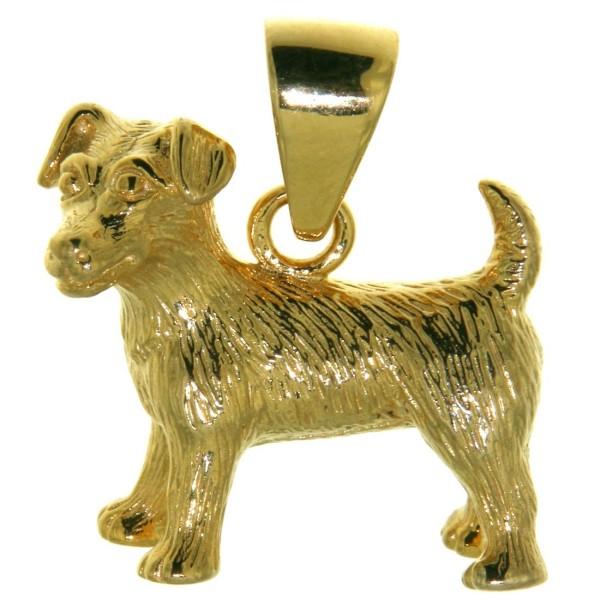 Anhänger Jack Russel Terrier Hunderasse schwer massiv echt Gold