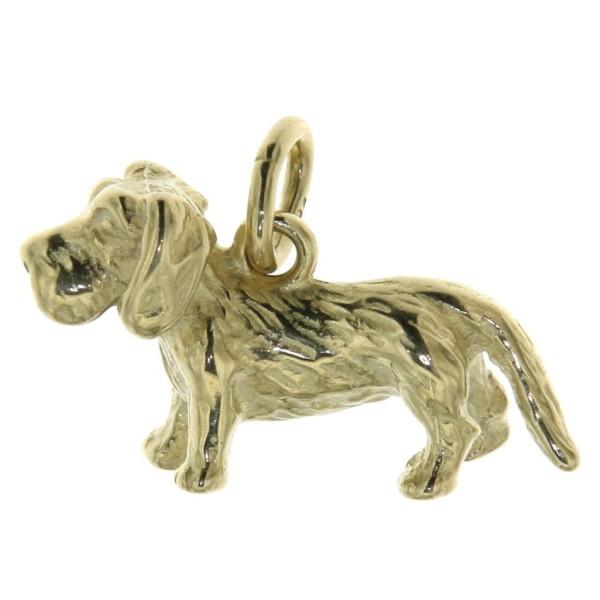 Anhänger Rauhhaardackel klein Hunderasse Teckel massiv echt Gold