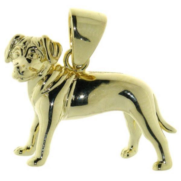 Anhänger Rhodesian Ridgeback Hunderasse schwer massiv echt Silber goldplattiert