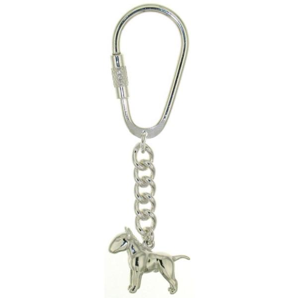 Schlüsselanhänger Bullterrier Pit Bull Hunderasse massiv echt Silber