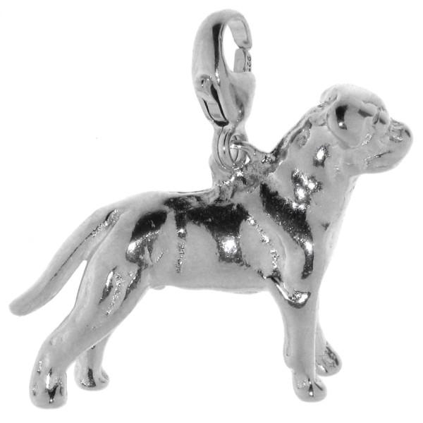 Charm Rottweiler mit unkupierter Rute Hunderasse massiv echt Silber