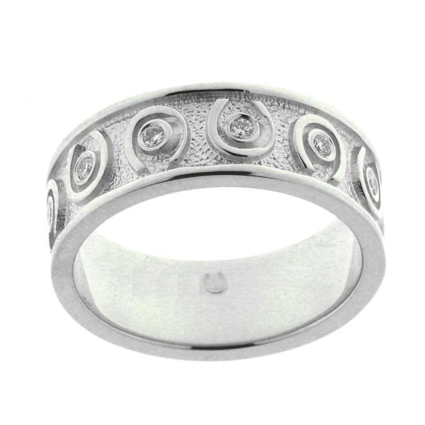 Ring mit umlaufenden Hufeisen und Zirkonia massiv echt Silber