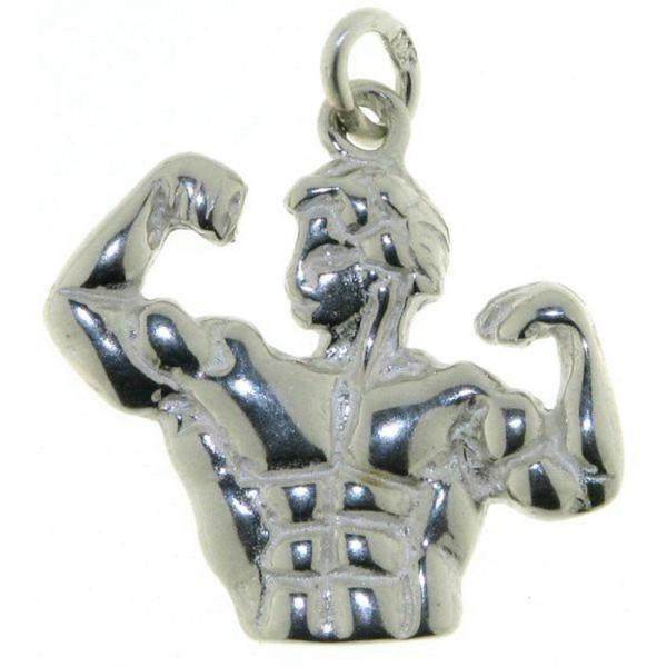 Anhänger Bodybuilder massiv echt Silber