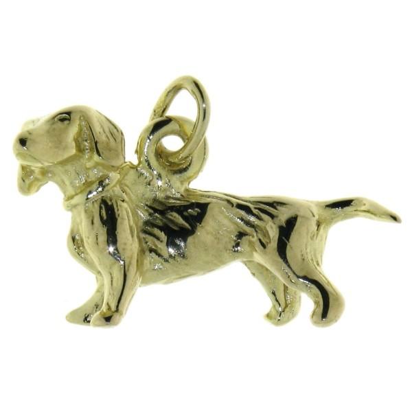 Anhänger Dackel Teckel Hunderasse massiv echt Gold