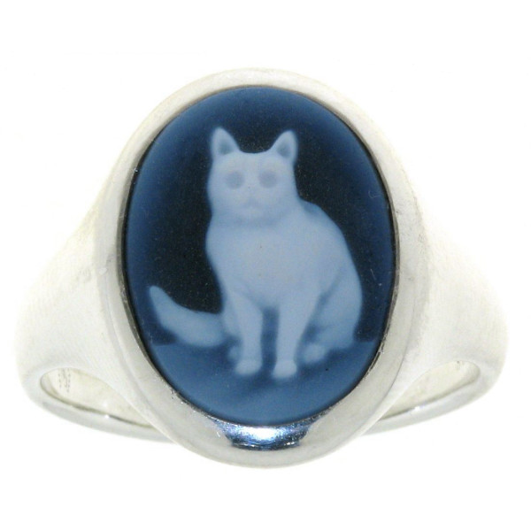 Ring Gemme Achat mit Katze 16 x 12 mm Kamee