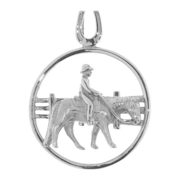 Anhänger Reiter auf Pferd Western Pleasure vor Zaun massiv echt Silber mattiert-poliert