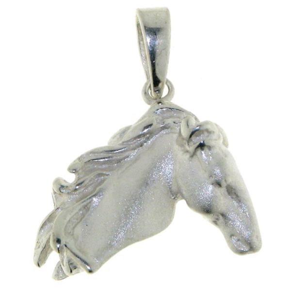 Anhänger Pferdekopf moderne Art echt Silber mattiert-poliert