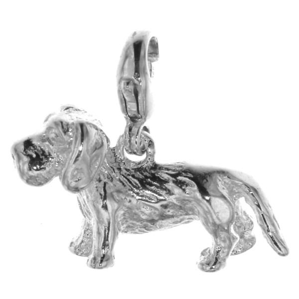 Charm Rauhhaardackel Hunderasse massiv echt Silber