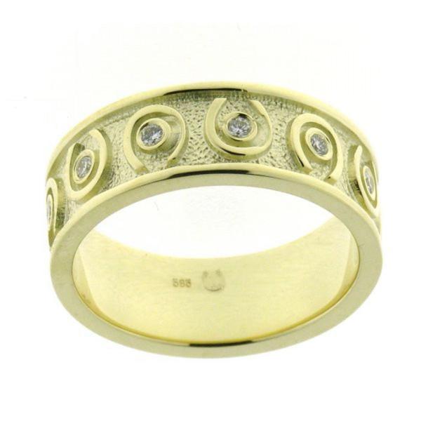 Ring mit umlaufenden Hufeisen und Diamanten schwer massiv