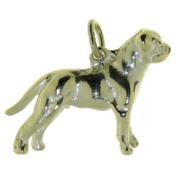 Anhänger Rottweiler mit unkupierter Rute Hunderasse schwer massiv echt Gold