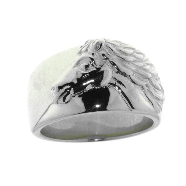 Ring breit mit Pferdekopf schwer massiv echt Silber