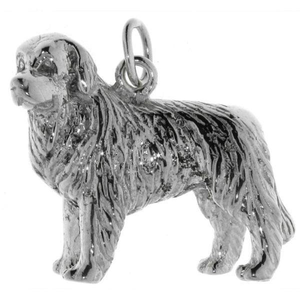 Anhänger Neufundländer-Hund schwer groß massiv echt Silber
