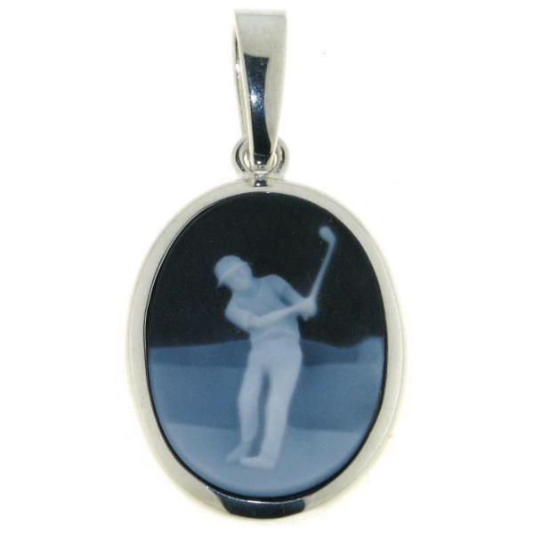Anhänger Gemme Achat Golfspieler Golfsport 20 x 15 mm Kamee