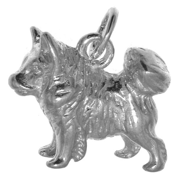 Anhänger Wolfsspitz Deutscher Spitz Hunderasse massiv echt Silber