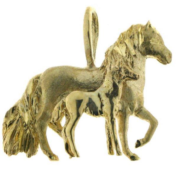 Anhänger Stute mit Fohlen mattiert - poliert - Paso Fino Pferd