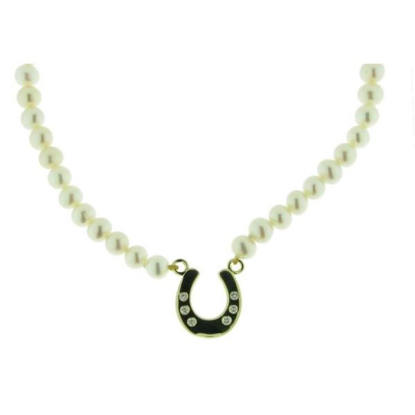 Perlencollier mit Hufeisen und 6 Brillanten
