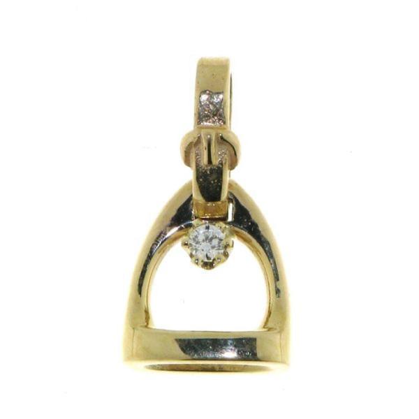 Anhänger Steigbügel klein mit Bügelriemenöse und Diamant
