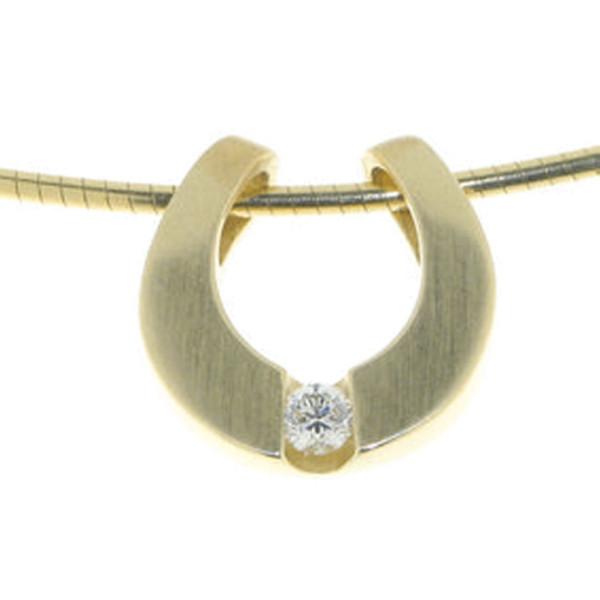 Anhänger modernes Hufeisen echt Silber mattiert goldplattiert mit Zirkonia