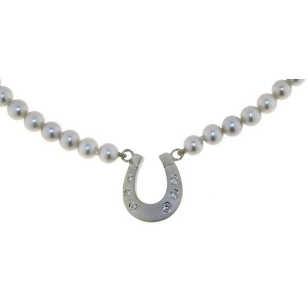 Perl-Collier grau mit Hufeisen mattiert-poliert echt Silber mit 6 Zirkoniasteinen