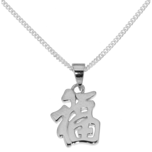 Anhänger Chinesisches Zeichen für Glück Gesundheit Segen massiv echt Silber mit Kette