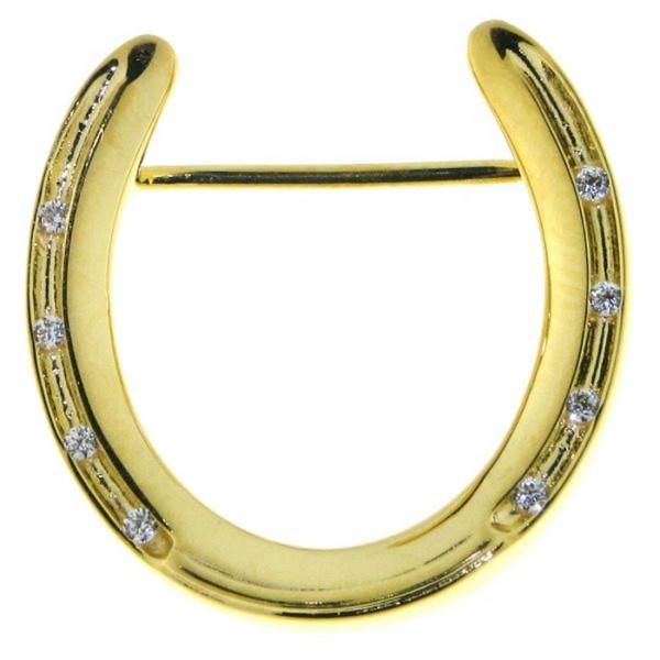 Brosche Plastronnadel Hufeisen massiv echt Silber goldplattiert mit Zirkonia