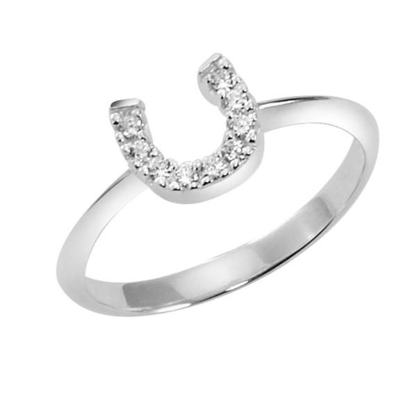 Ring mit kleinem Zirkonia Hufeisen massiv echt Silber